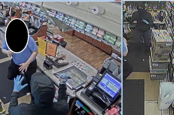 Suspect threatens clerk