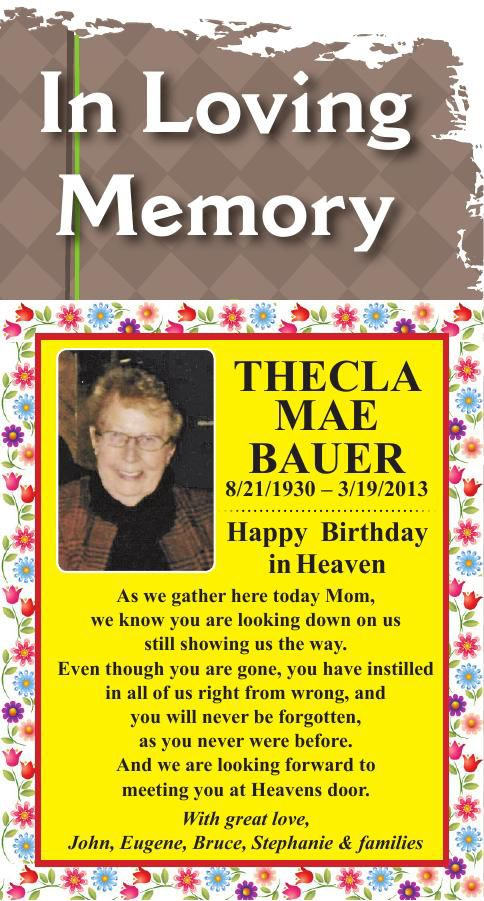 Thecla Mae Bauer