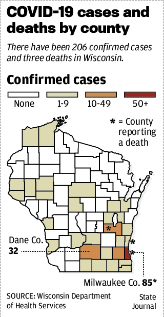 Wisconsin COVID-19 cases and deaths by county