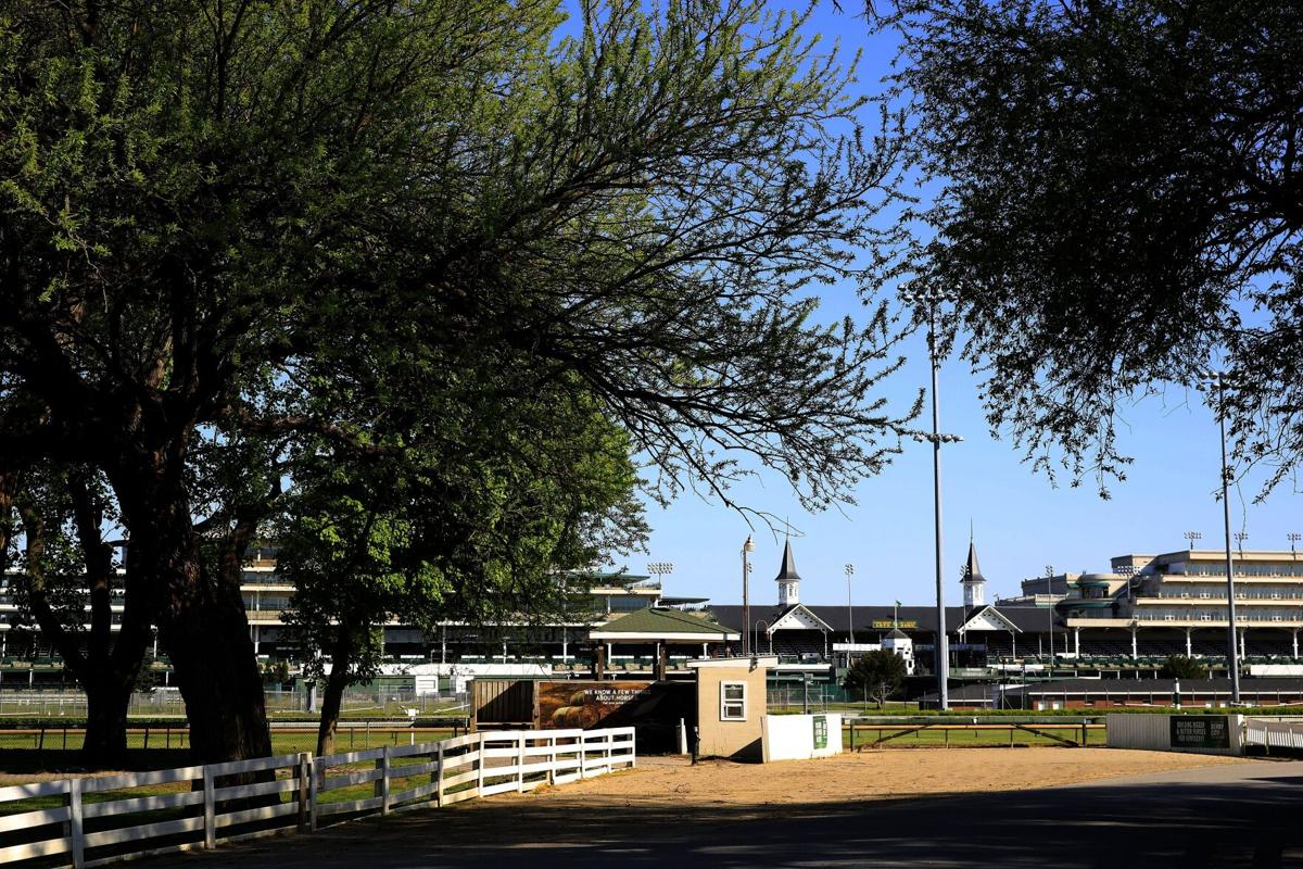 A view of the twin spires and empty grandstand from the barn area at Churchill Downs on May 02, 2020 in Louisville, Kentucky. The 146th running of the Kentucky Derby, originally scheduled for May 2nd, has been postponed to September 5, 2020 due to the COVID-19 pandemic.