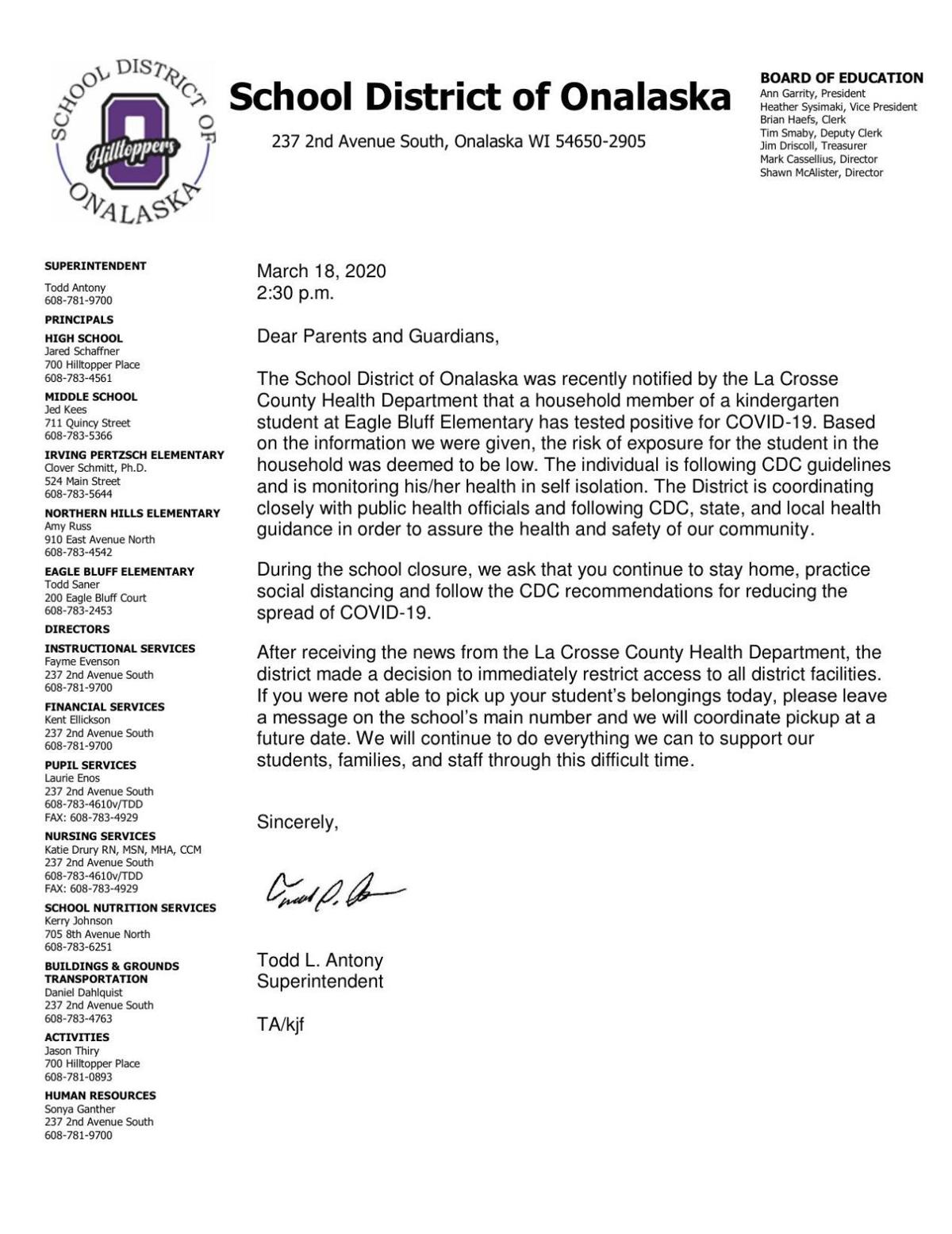 Letter from Onalaska School District