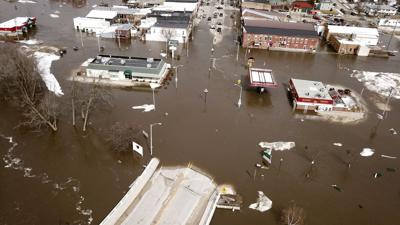 Aerial view of flooding in Darlington
