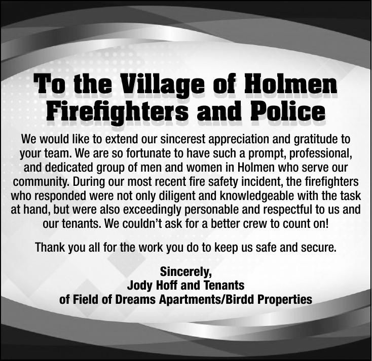 The Village of Holmen Firefighters and Police