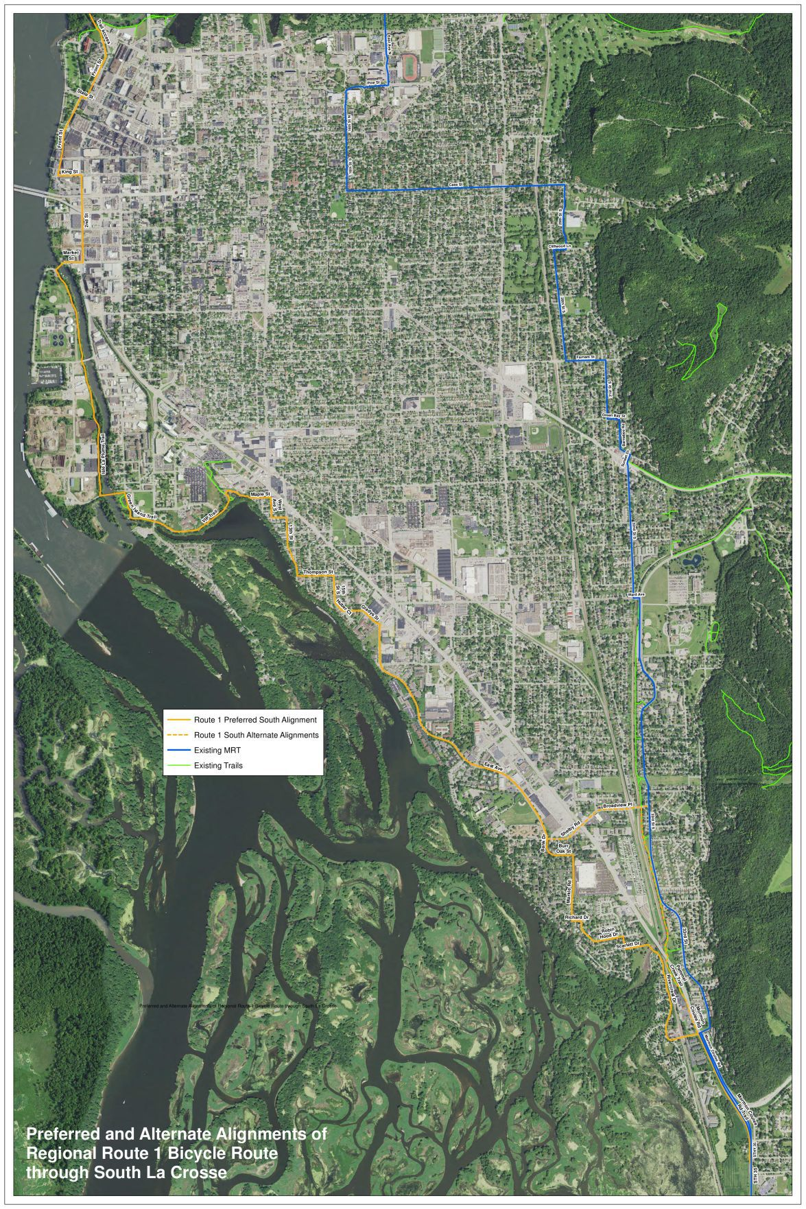Mississippi River Trail proposed route South