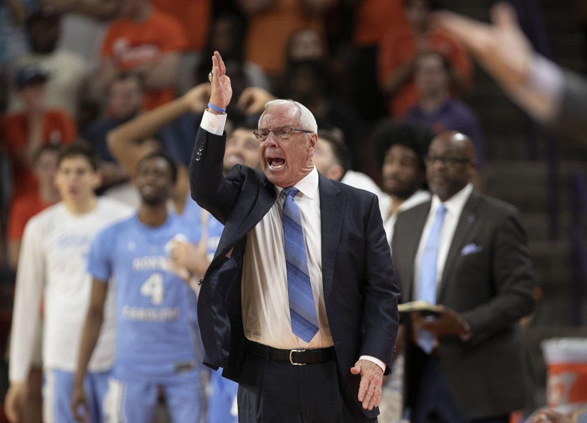 North Carolina coach Roy Williams directs his players during the first half against Clemson on Saturday, March 2, 2019, at Littlejohn Coliseum in Clemson, S.C.