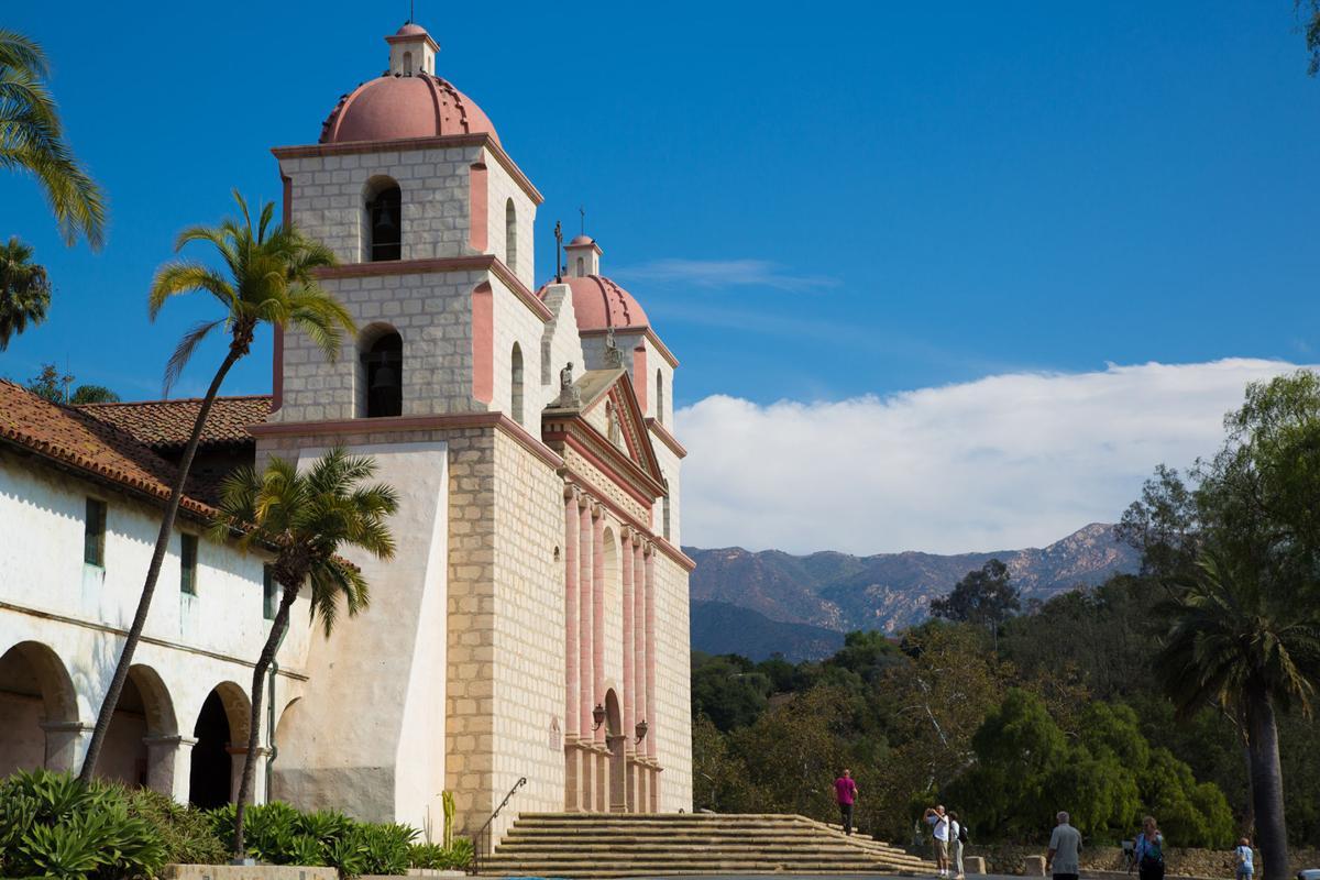 Santa Barbara Mission sits against a backdrop of the Santa Ynez Mountains.