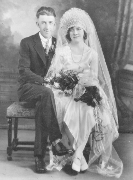 Studio Wedding Portrait Of Theresa Jacob And Robert Leske Married At Mt Calvary Lutheran Church In La Crosse On March 25 1931 By The Rev Theo Mueller