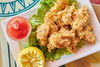 Fried oysters and cocktail sauce