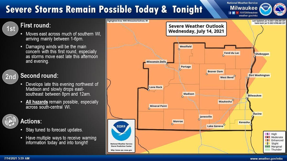 Severe storms Wed by National Weather Service