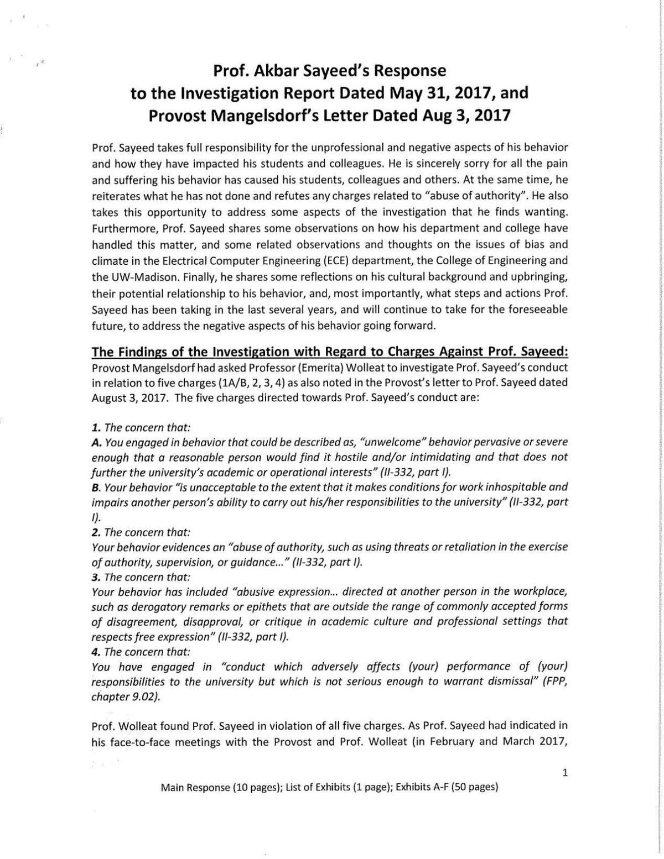 Dr. Akbar Sayeed's Response to UW-Madison Report