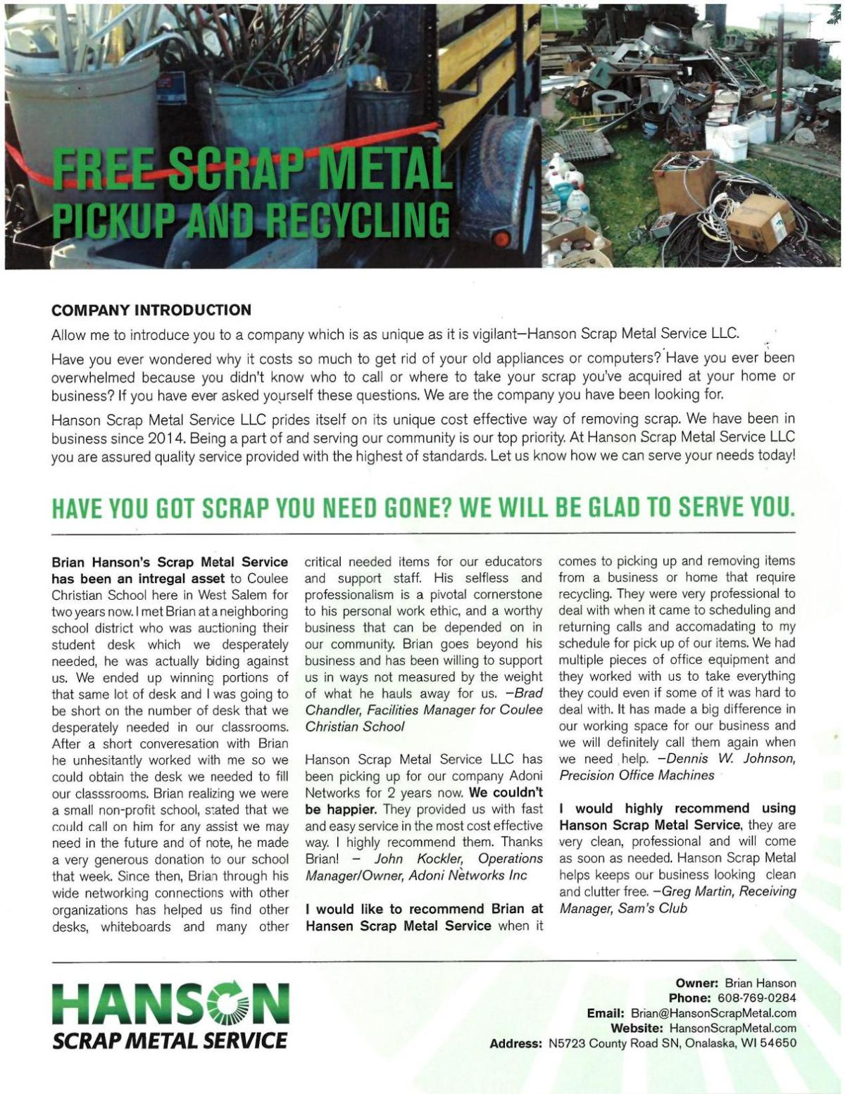 Free Scrap Metal Pick-up & Recycling