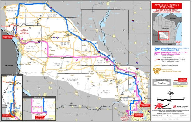Badger Coulee power line routes