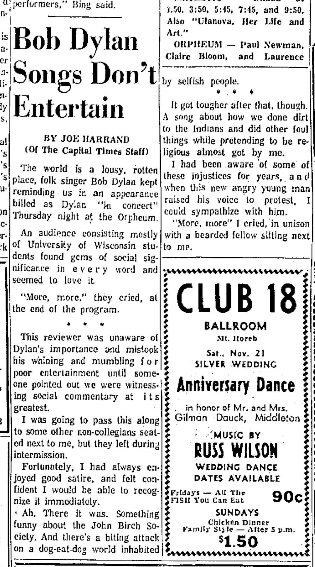 1964 Bob Dylan concert review (Capital Times)