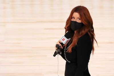 ESPN reporter Rachel Nichols stands on the court before a game between the Houston Rockets and the Dallas Mavericks at The Arena at ESPN Wide World Of Sports Complex on July 31, 2020 in Lake Buena Vista, Florida.