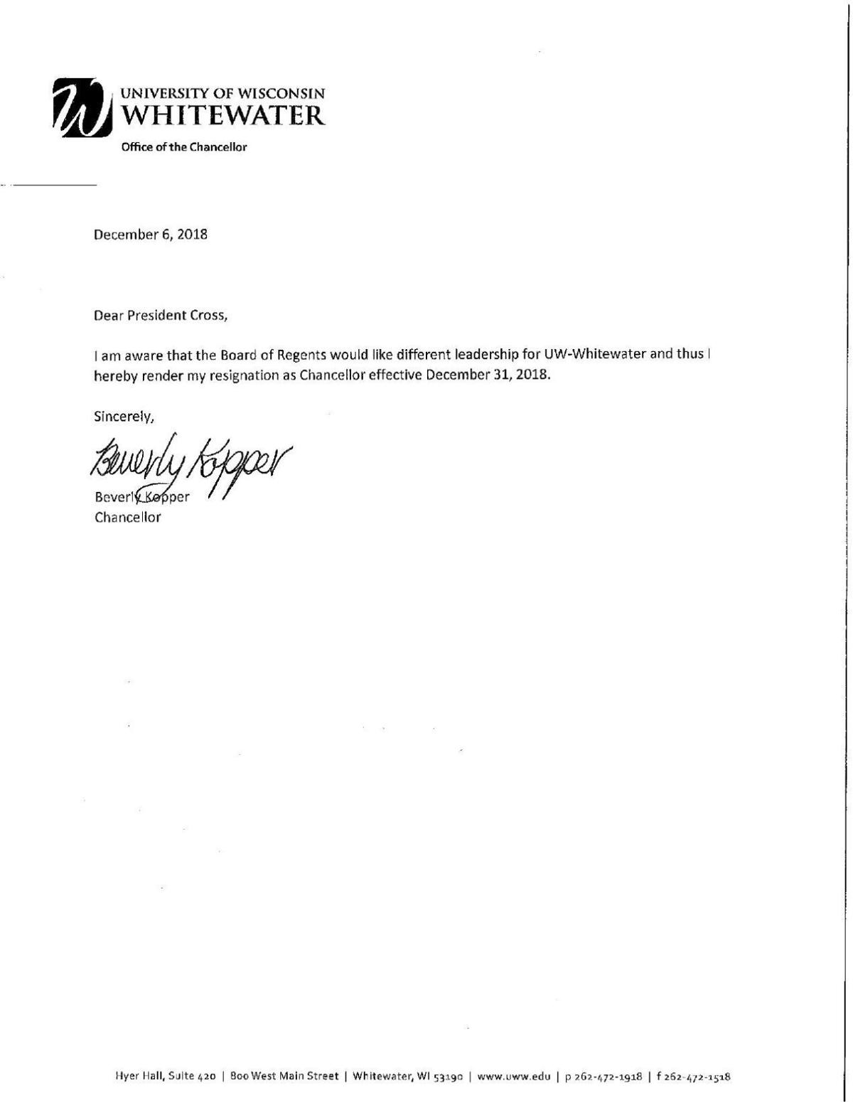 UW-Whitewater chancellor\'s resignation letter.pdf | State and ...