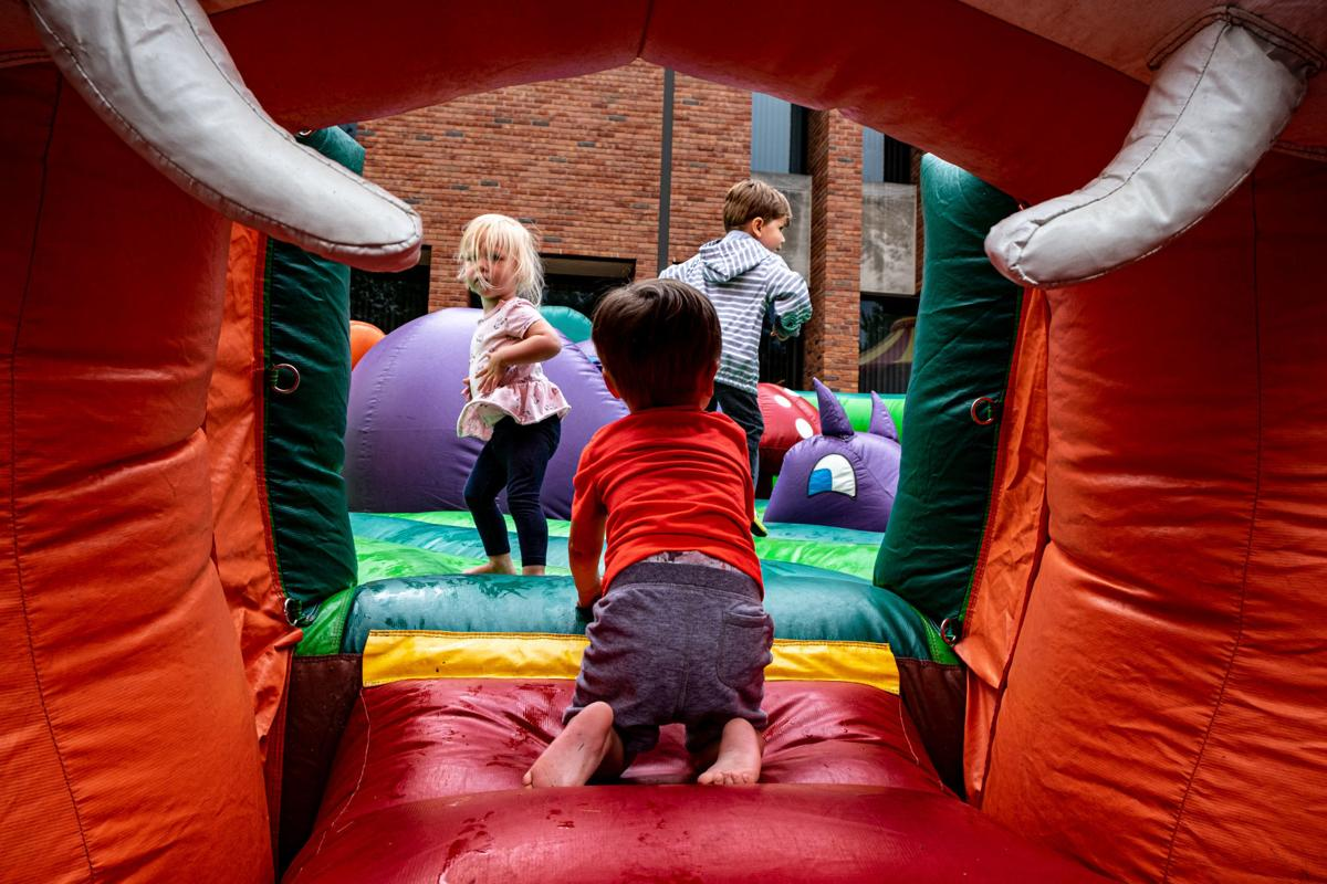 Library Kickoff bounce house