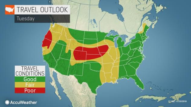 Travel outlook Tuesday by AccuWeather