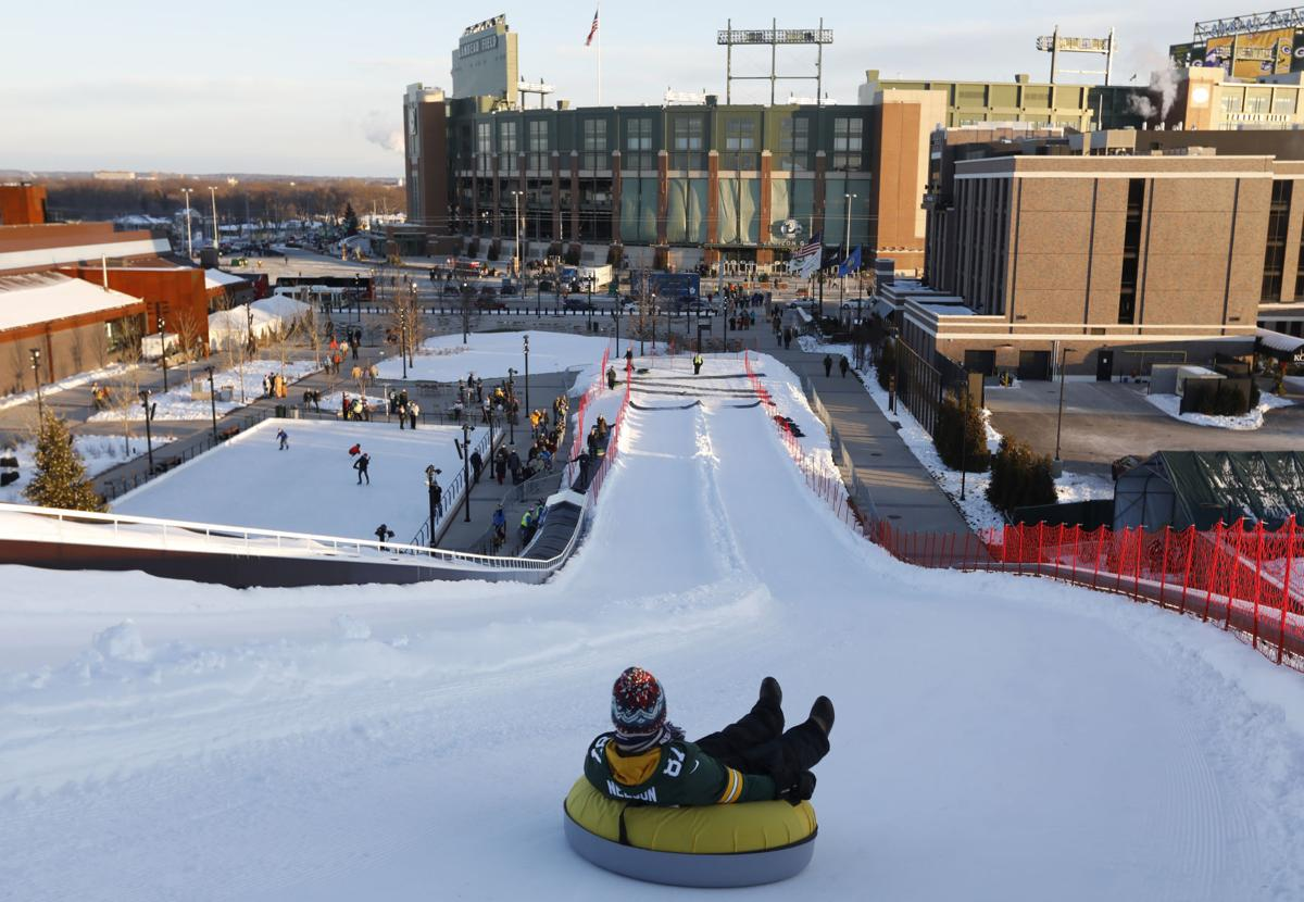 Sledding hill at Titletown, Lambeau Field, AP generic file photo