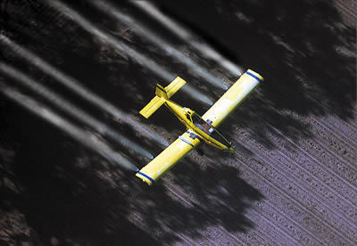 Arial spraying for gypsy moth caterpillars