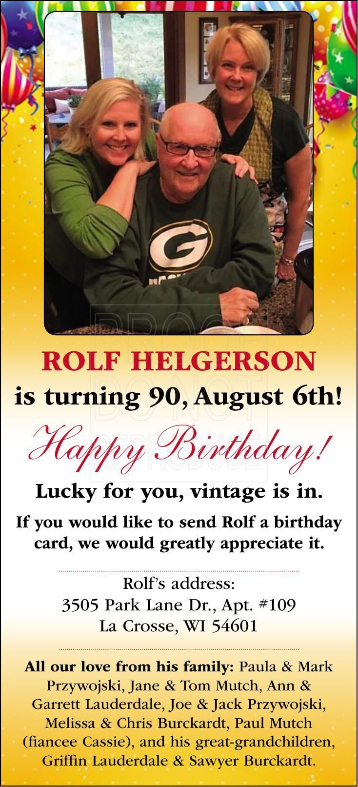Rolf Helgerson 90th Birthday