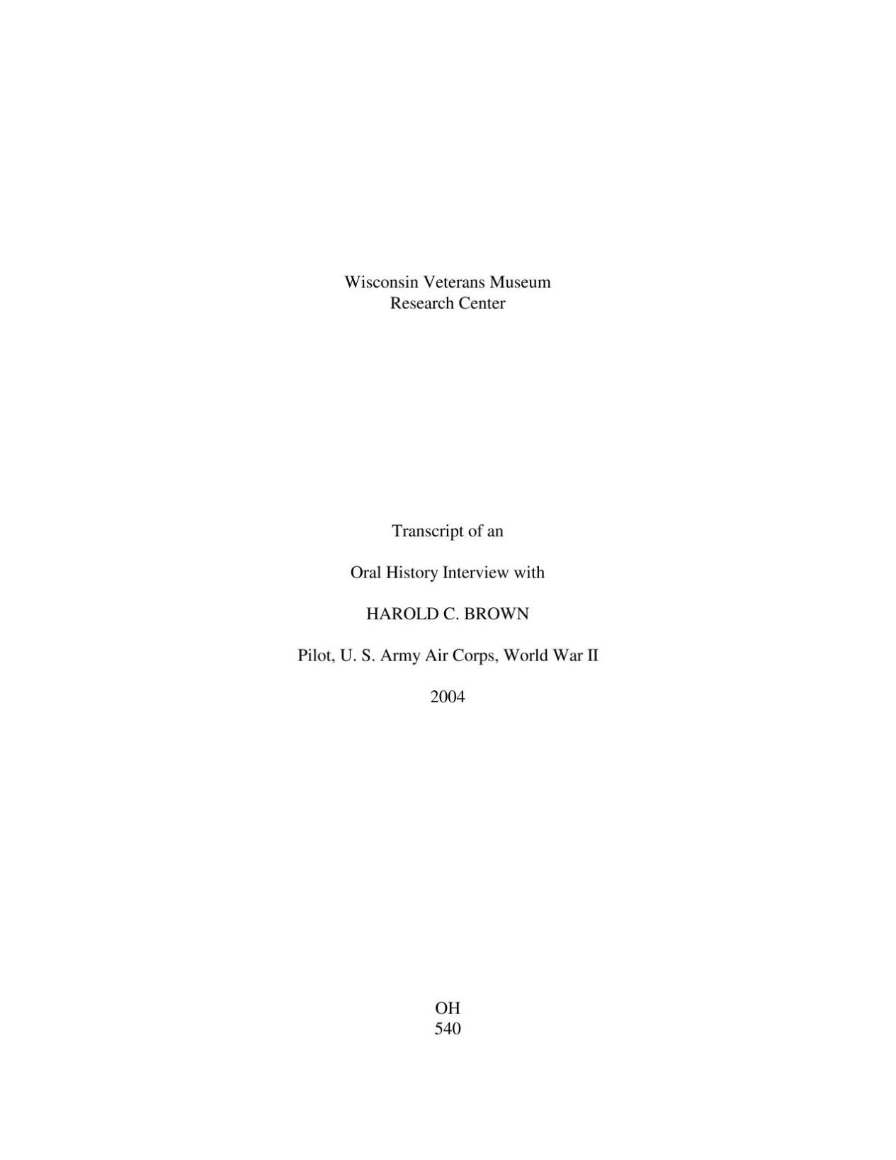 Oral History Transcript
