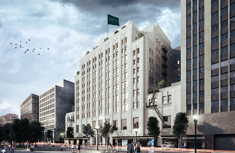See 3d renderings of new trust building development for Recycled building materials los angeles