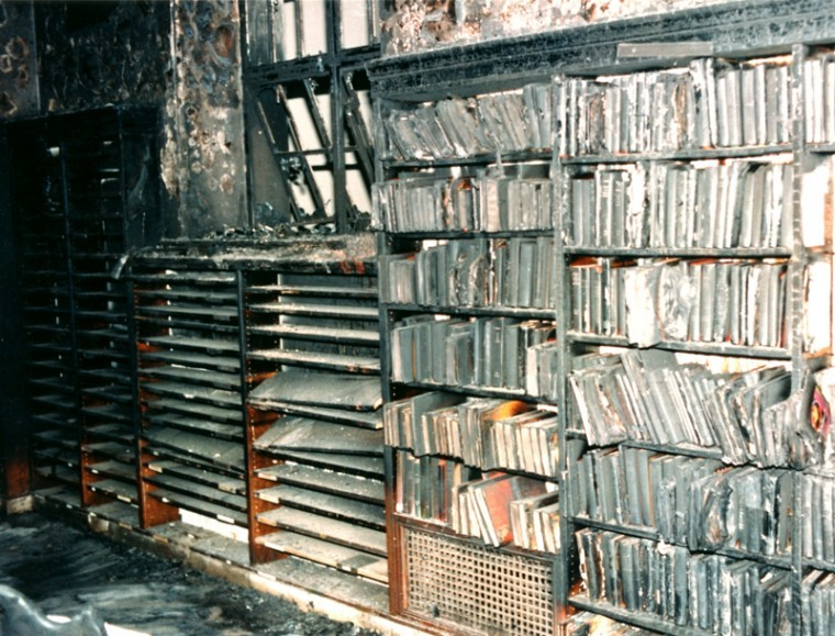 Image result for photo of la central library fire 1986