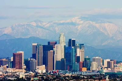 20897576 - los angeles with snowy mountains in the background