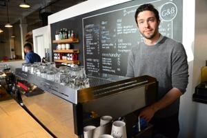 <p>Charles Babinski at G&B Coffee in Grand Central Market.</p>