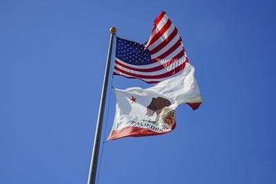 The American and California flag fluttering