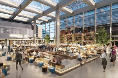 major atrium overhaul at wells fargo center development