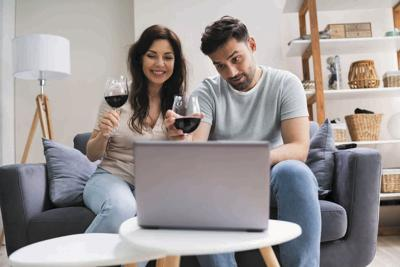 Virtual Wine Tasting Using Laptop. Online Party