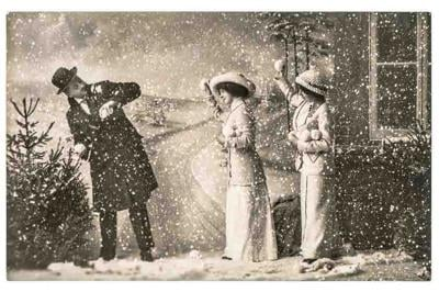 happy young people playing in snow. vintage christmas holidays picture