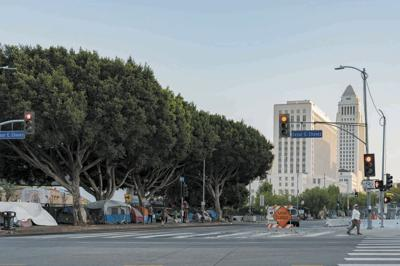 City hall and homeless tent on the road