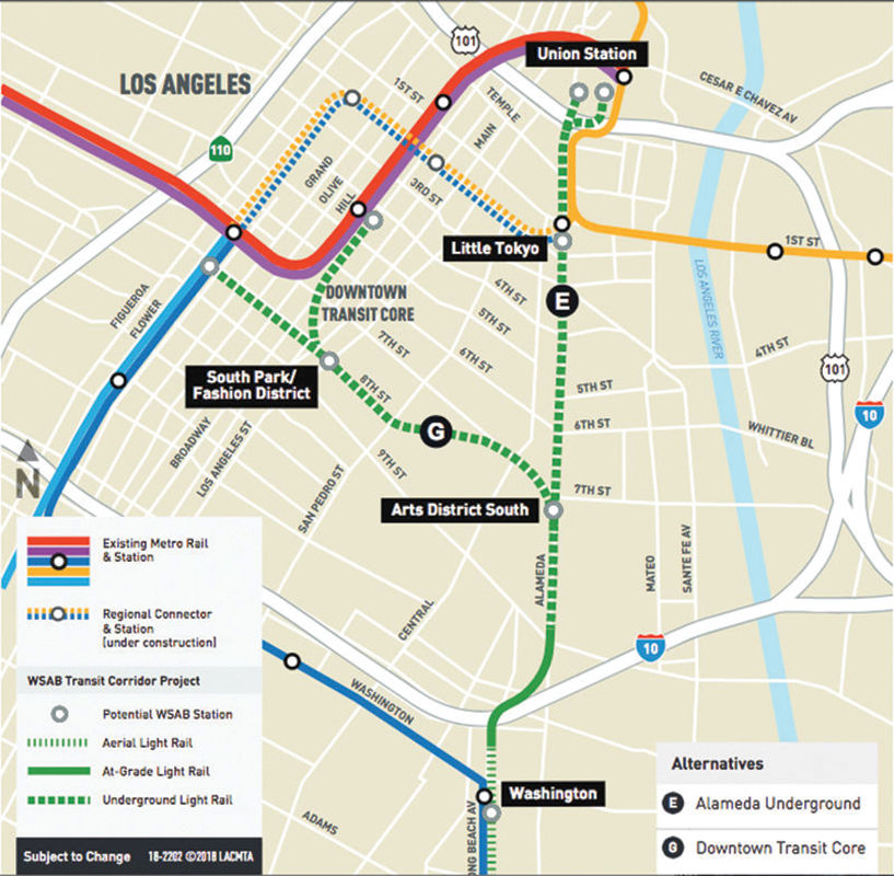 Uphill Road for Pershing Square Stop in Future Rail Line