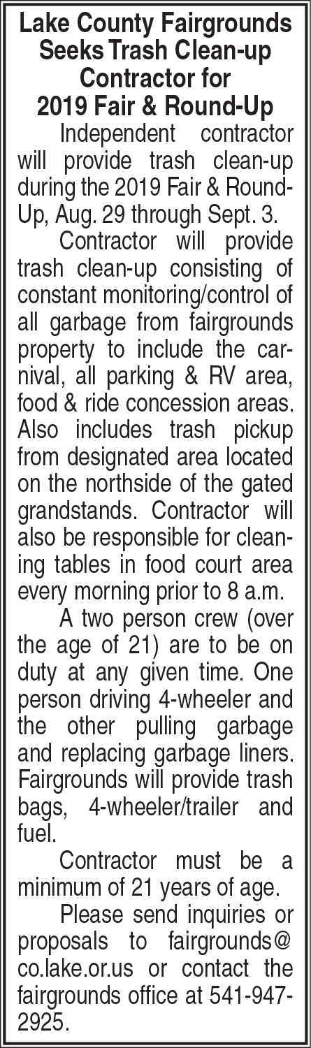 Round-Up Trash Collection Contractor needed