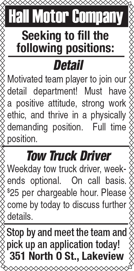 Hall Motor Co. open positions