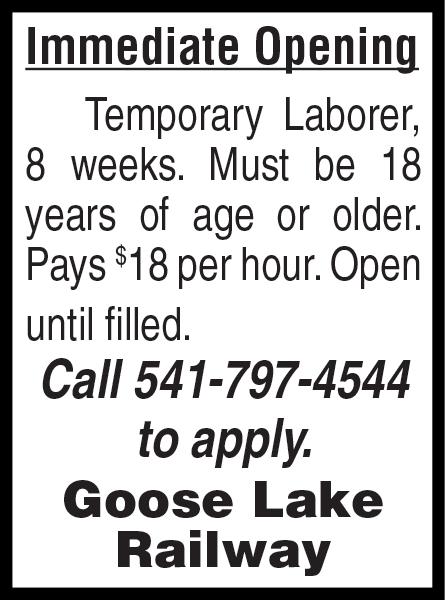 NOW HIRING - General Labor - Goose Lake Railway