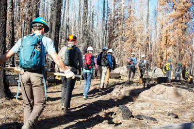 Volunteers work on trail impacted by fire