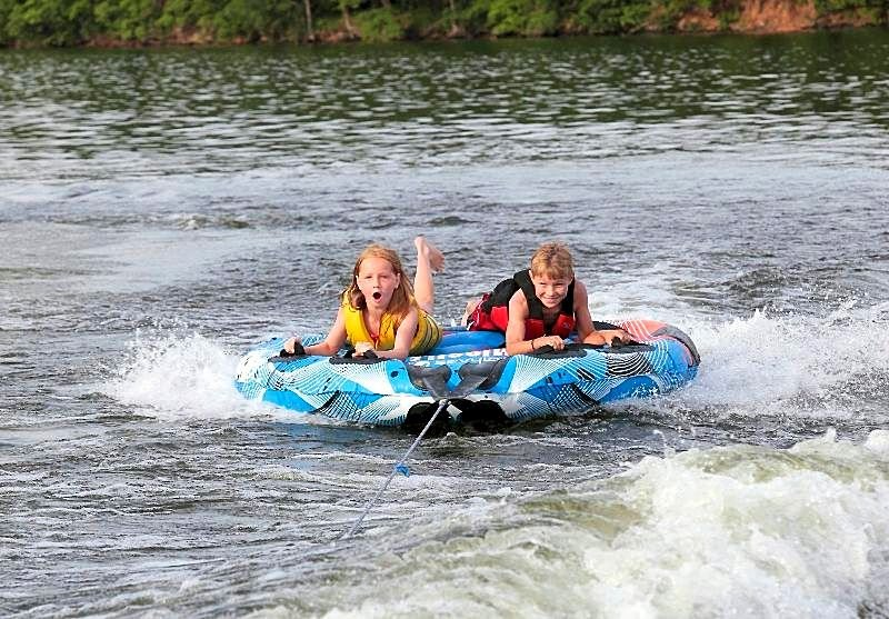 Kids tubing on the Lake