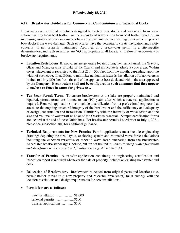 Ameren Breakwater Guidelines