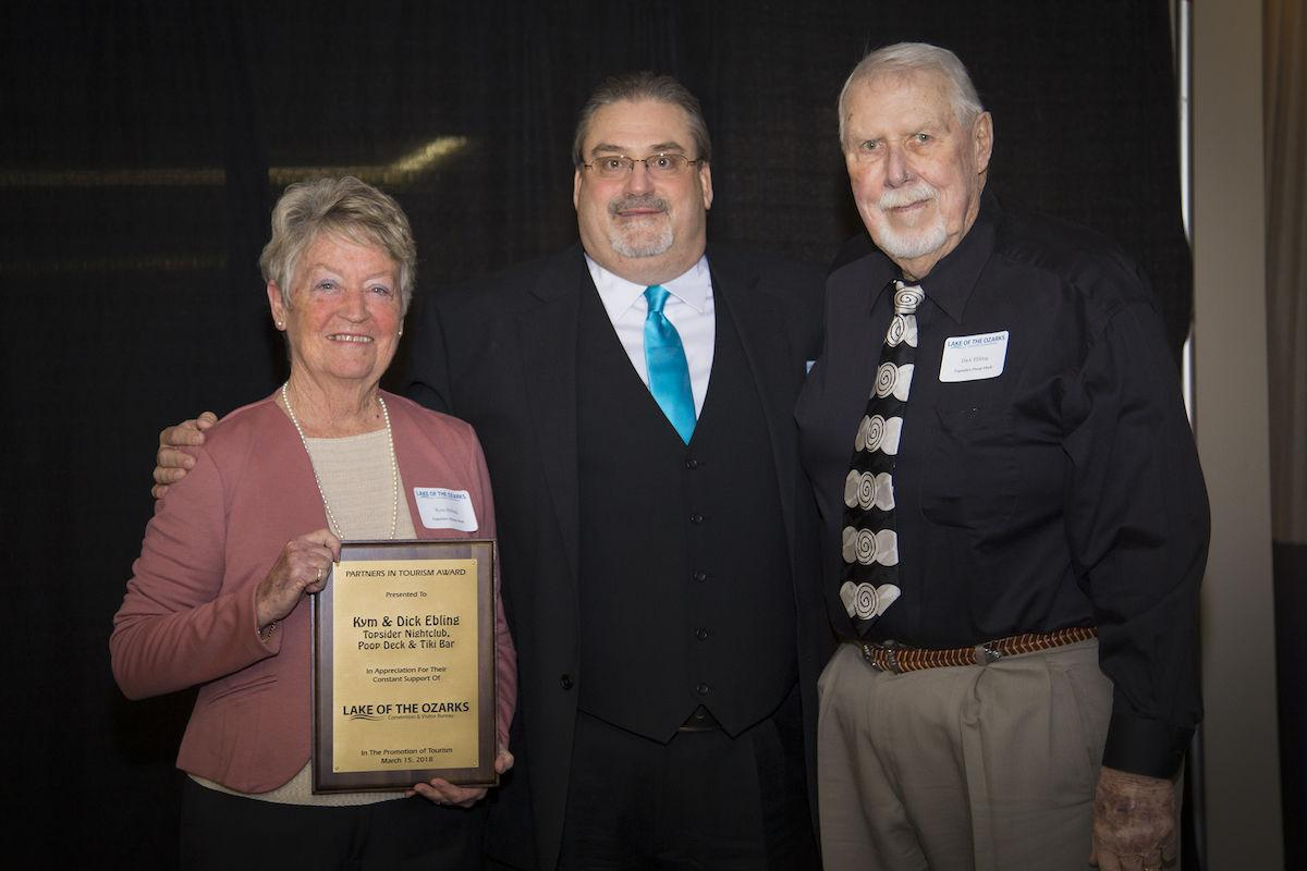 Kym and Dick Ebling Accepting CVB Partners In Tourism Award
