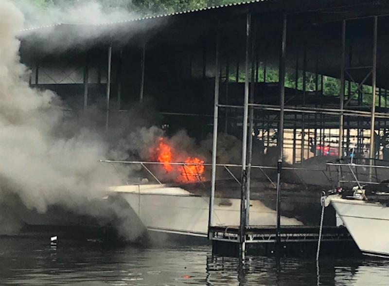 Boat Fire At Village Marina