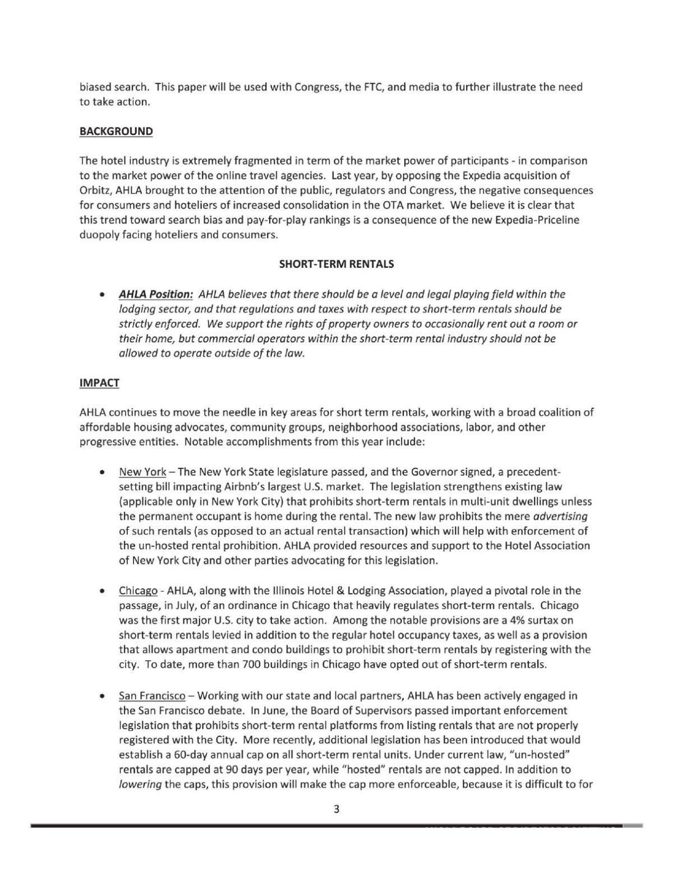 American Hotel & Lodging Association document