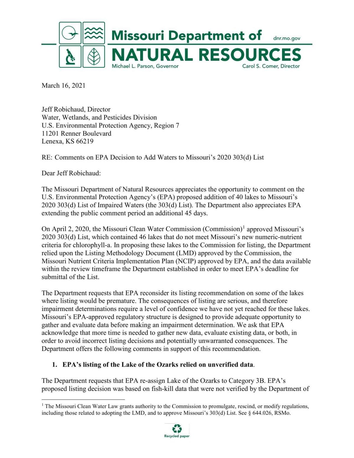 DNR Comment Letter to EPA - PN MO 2020 303d Decision 2021_0227 FINAL 3-2021.pdf
