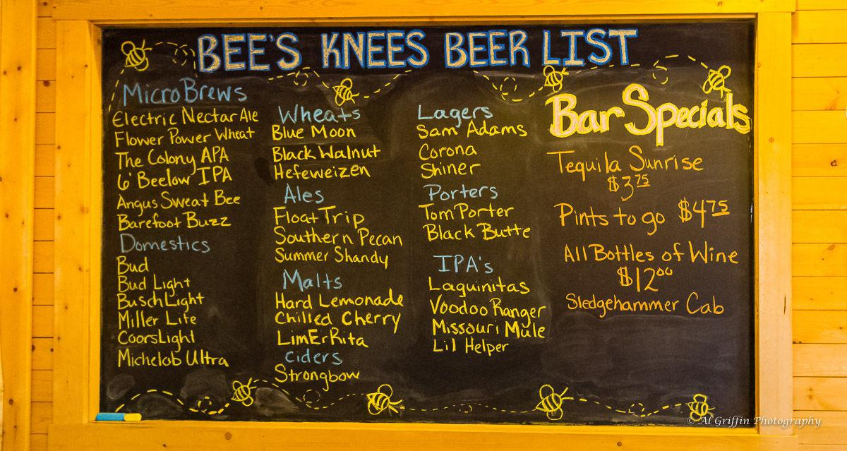 Bee's Knees Ale House Beer List