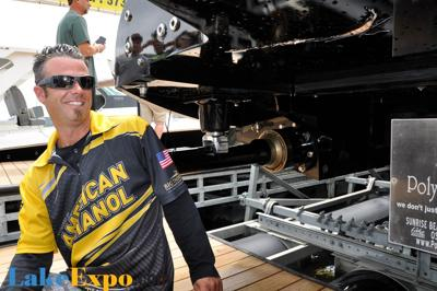 Driver Tony Battiato Checks Out The Damage To American Ethanol's Hull