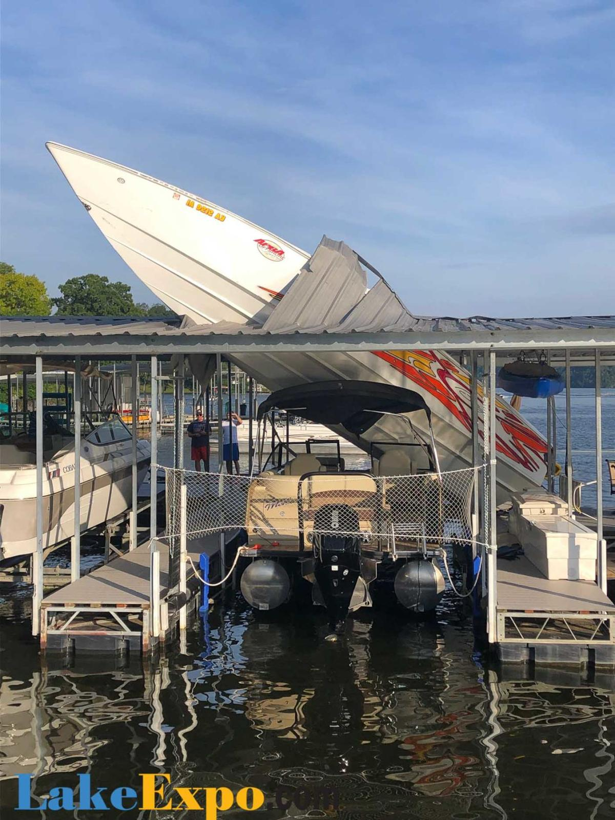 Boat Crashes Through Dock Roof, Driver Seriously Injured