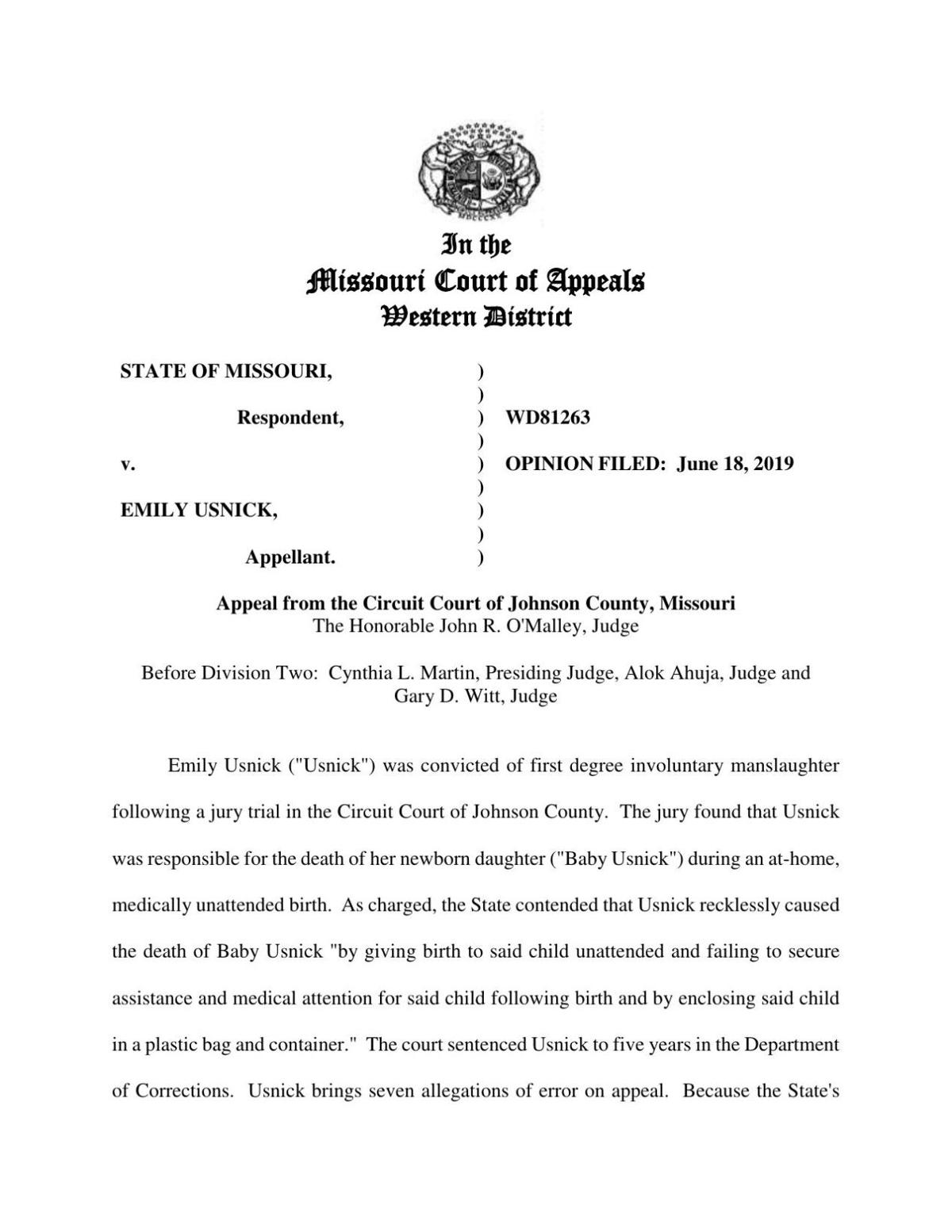 Missouri Western District Court Of Appeals - Usnick Opinion