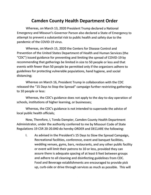 Camden County Health Department Order